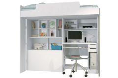 Beliche Santos Andirá Modulo Office Teen Aquarela (Cama+Escrivaninha de CPU+Baú+Nicho+Prateleiras)