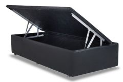 Cama Box Baú Ortobom Courino Nero Black - - Box Baú Physical Solteiro - 0,88x1,88 - Inteiriça