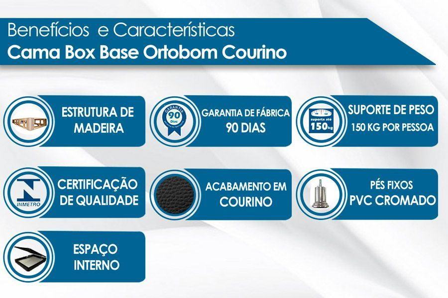 Cama Box Baú Ortobom Courino Nero Black