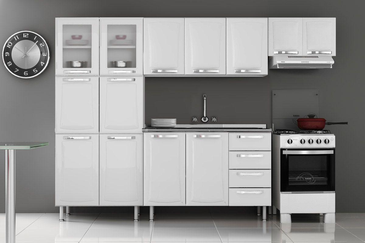 Armário de Cozinha Itatiaia Aéreo Itanew IP3120 Aço c 3 Portas 120cm  Cost # Armario De Cozinha Ferreira Costa