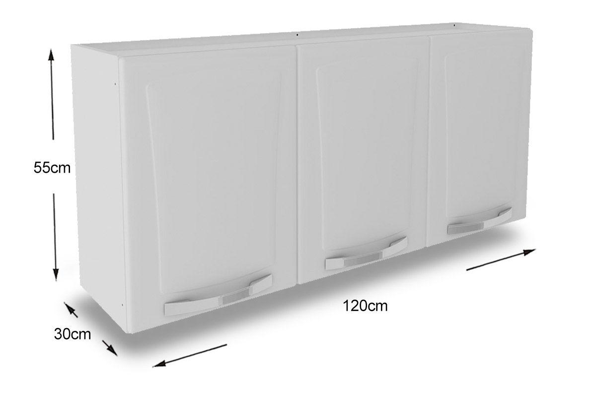 Armário de Cozinha Itatiaia Aéreo Itanew IP3120 Aço c 3 Portas 120cm  Cost # Armario Aereo Cozinha Duas Portas