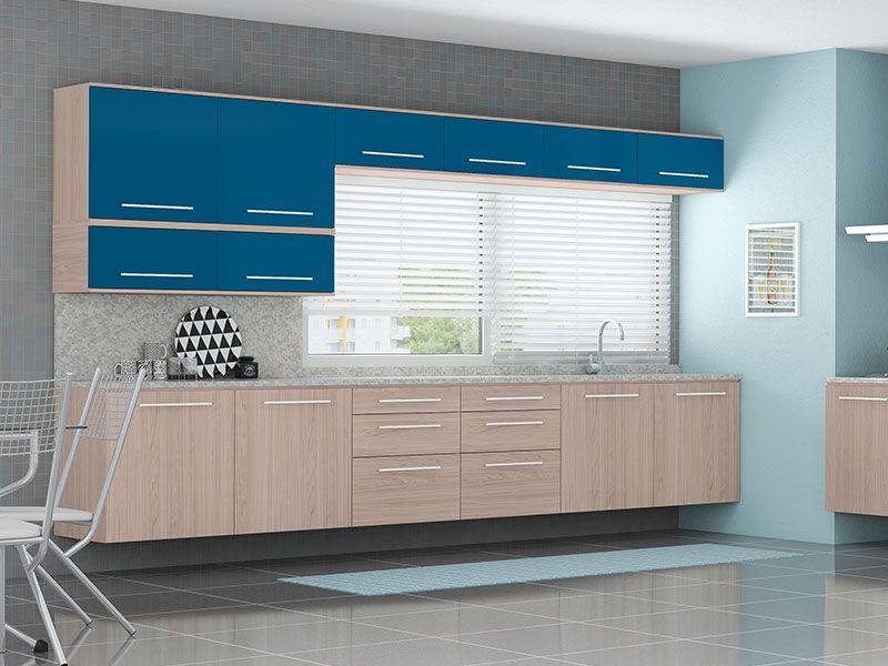 Cozinha Planejada Azul Pictures to pin on Pinterest # Armario De Cozinha Planejado Azul
