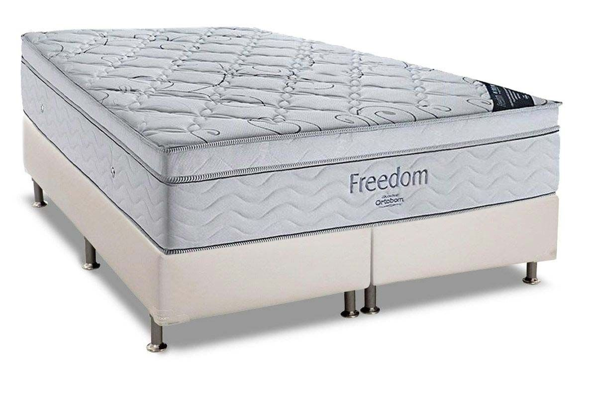 Conjunto Cama Box - Colchão Ortobom de Molas Pocket Freedom + Cama Box Universal Couríno White