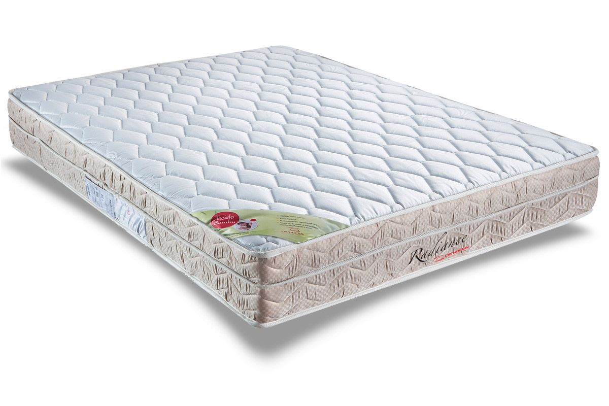 Conjunto Cama Box - Colchão Orthocrin de Molas Pocket Radiance Square + Cama Box Universal Couríno White