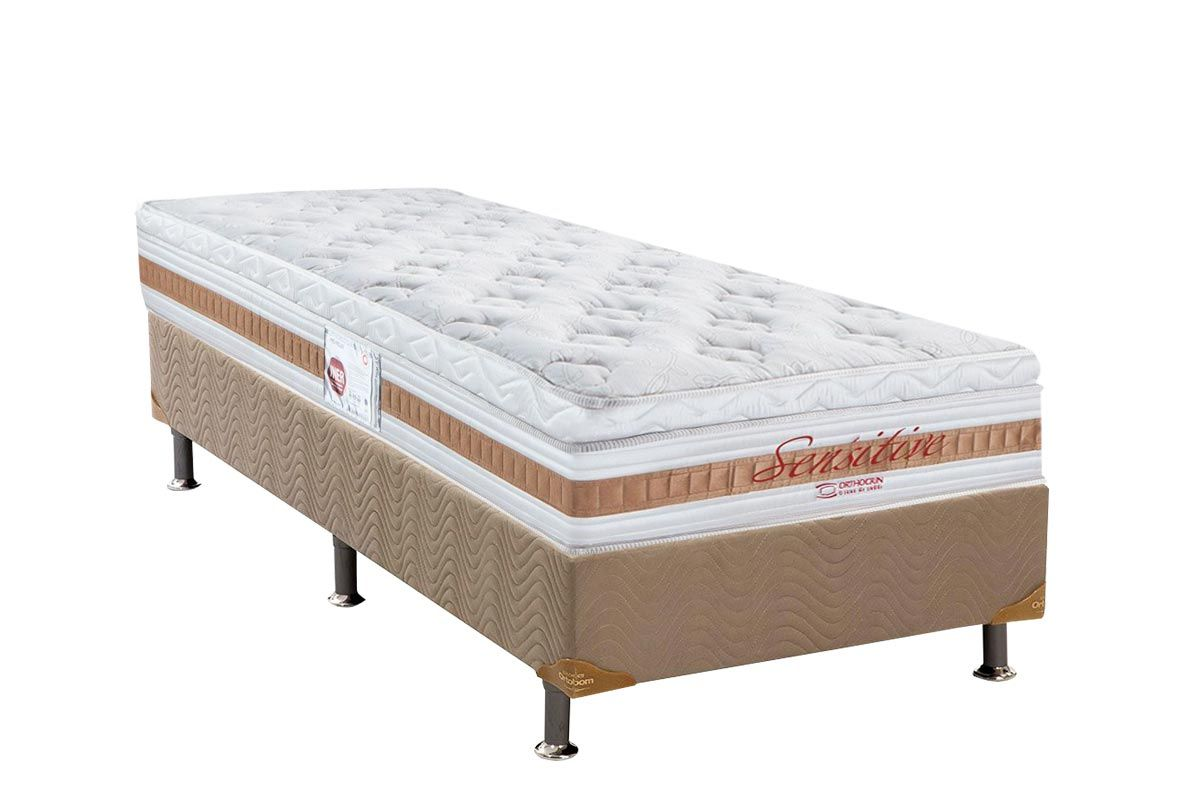 Conjunto Cama Box - Colchão Orthocrin de Molas Bonnel Sensitive Euro Top + Cama Box Universal Nobuck Bege Crema