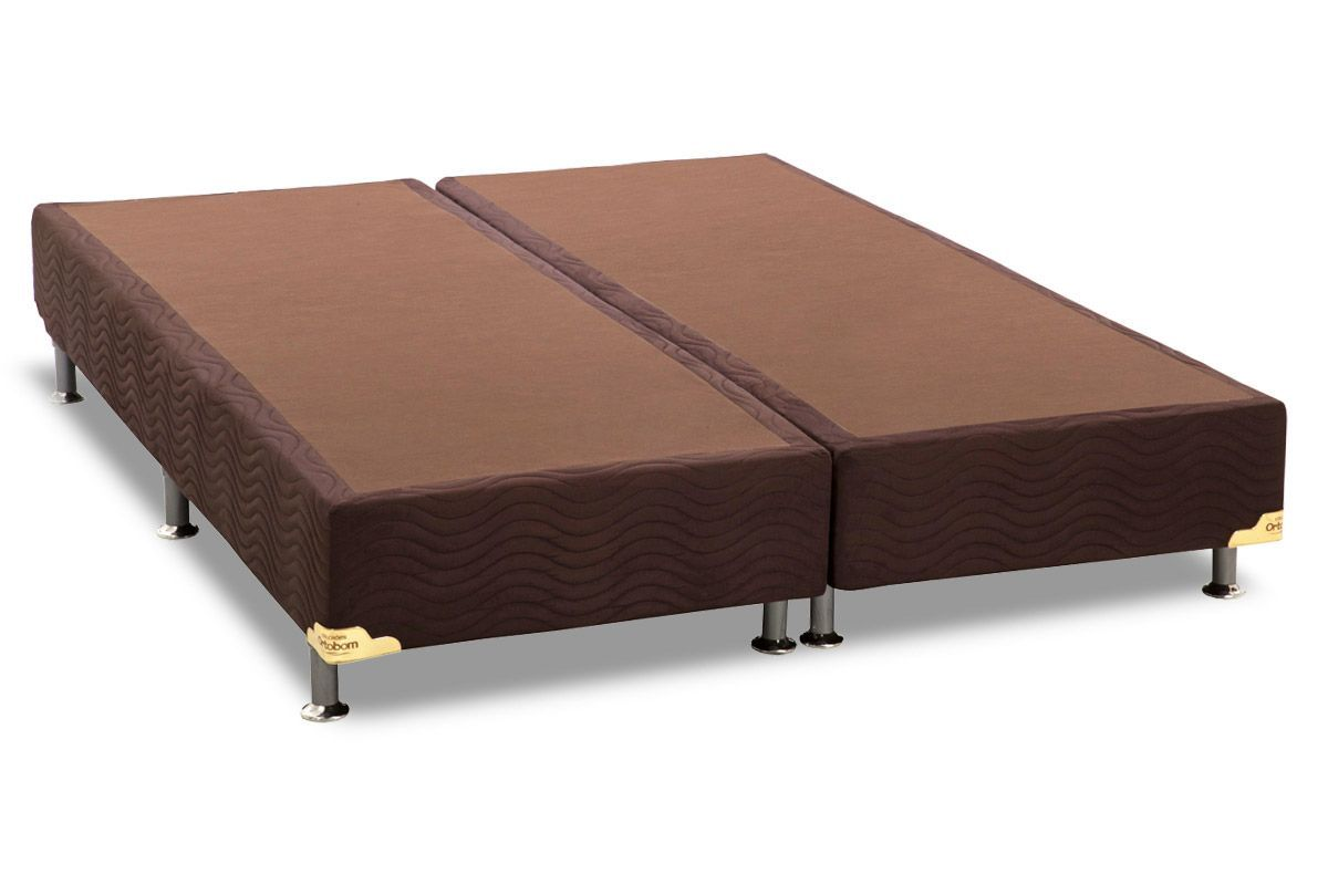 Conjunto Cama Box - Colchão Luckspuma de Molas Pocket Satisfaction Sued +  Cama Box Universal Nobuck Rosolare Café