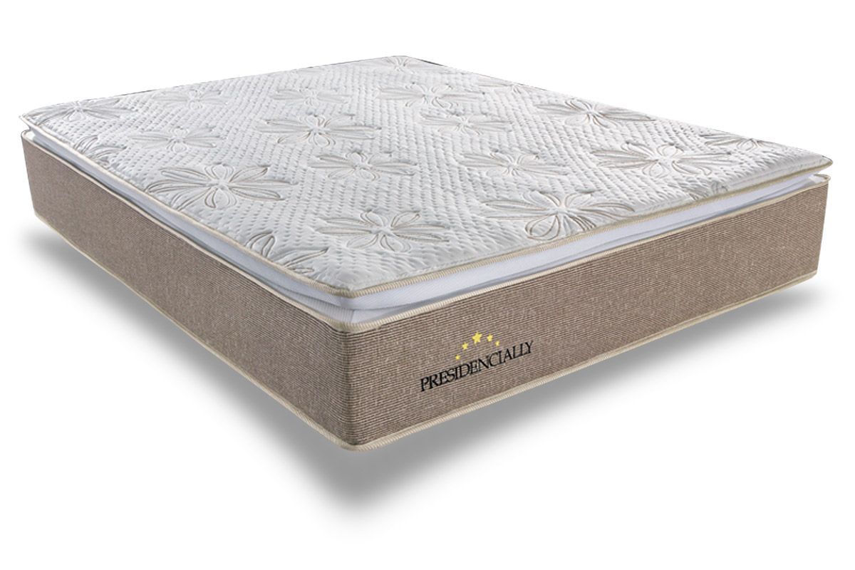 Conjunto Cama Box - Colchão Sealy de Molas Pocket Presidencially + Cama Box Universal Courino Bianco