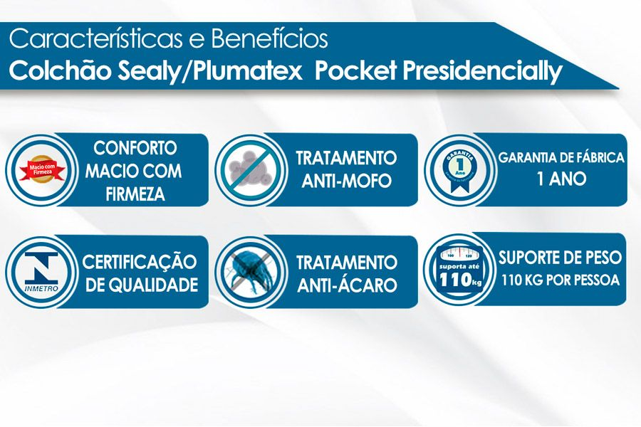Conjunto Cama Box - Colchão Sealy/Plumatex de Molas Pocket Presidencially + Cama Box Universal Courino Bianco