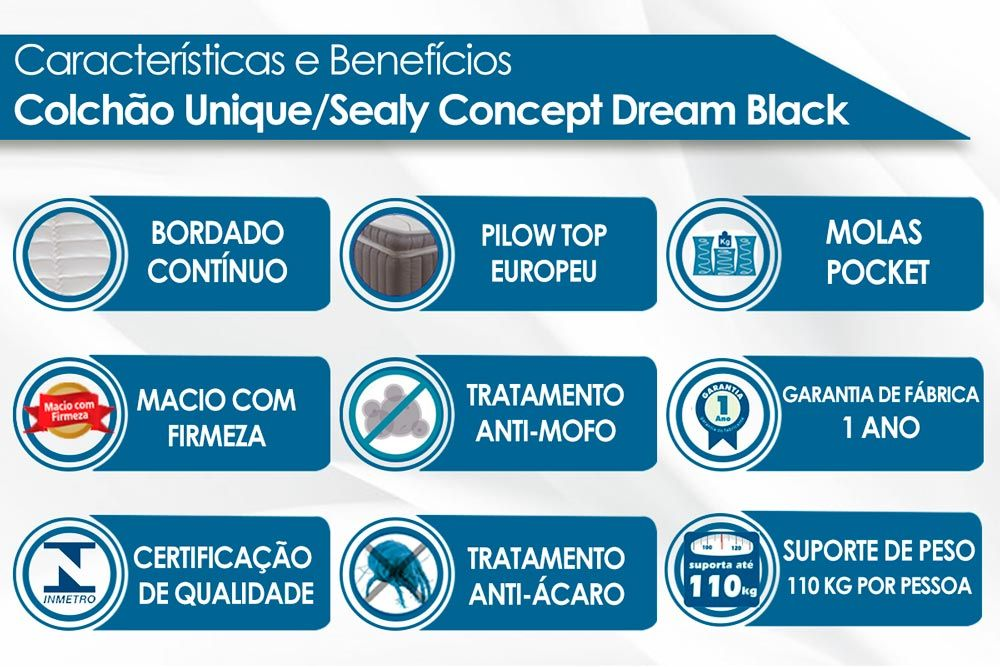 Conjunto Cama Box - Colchão Unique/Sealy de Molas Pocket Concept Dream Black + Cama Box Universal Nobuck Nero Black