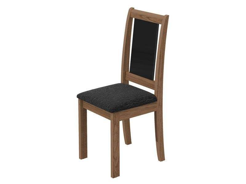 Conjunto de Mesa Lopas Recife Base e Tampo Madeirado MDF/Vidro 120cm + 4 Cadeiras Madeirado Recife