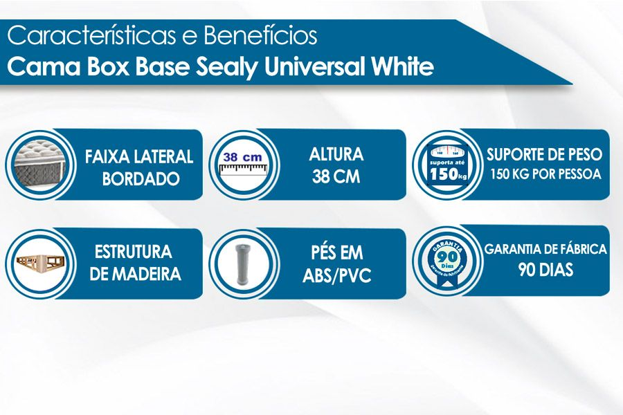 Cama Box Base Sealy Universal White