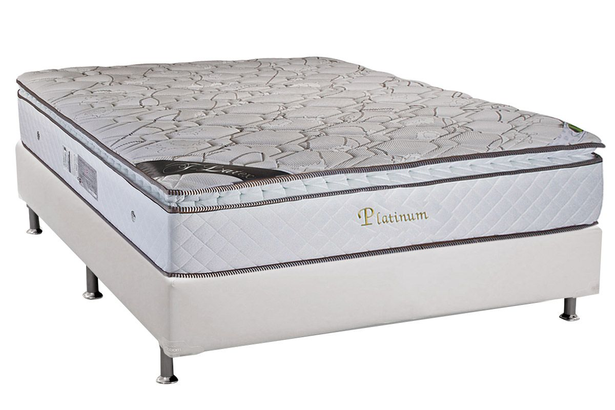 Conjunto Cama Box - Colchão Luckspuma de Molas Pocket  Platinum + Cama Box Universal Couríno White