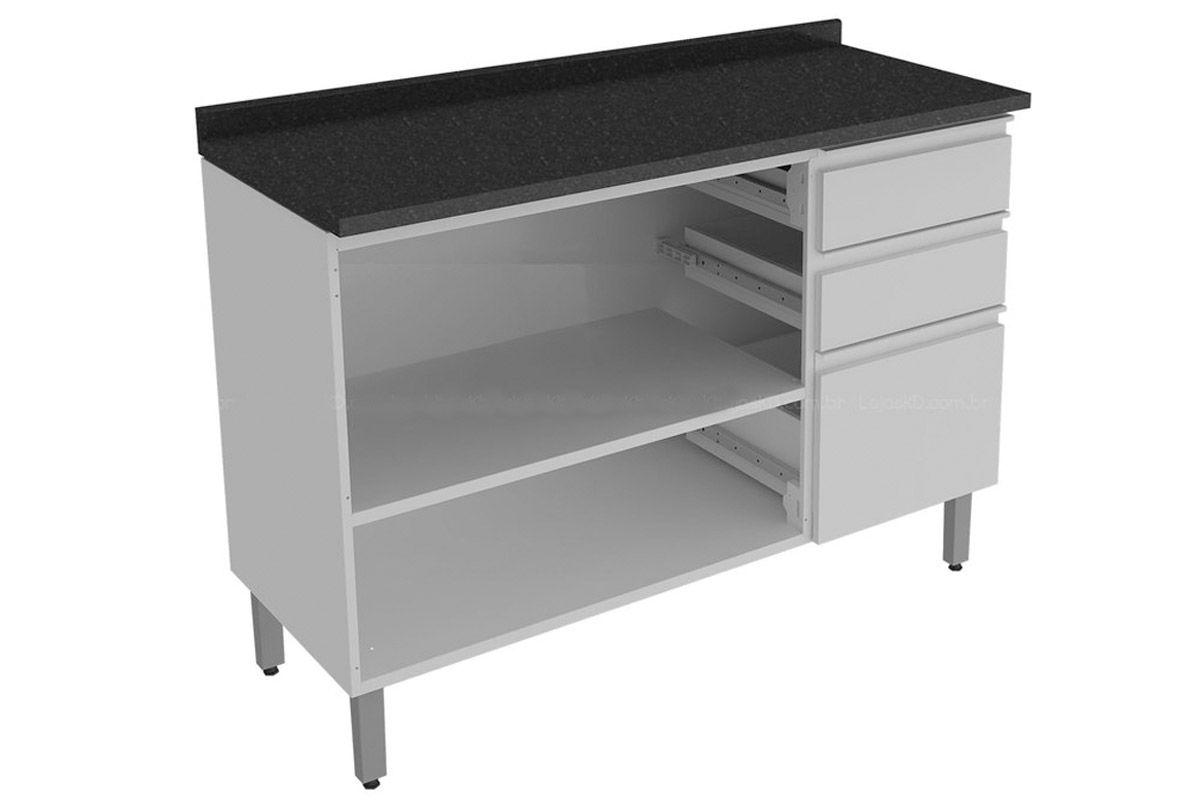 Gabinete (Balcão) de Cozinha Itatiaia Stilo Plus IG3G3GD 120 PL Aço  #303030 1200 800