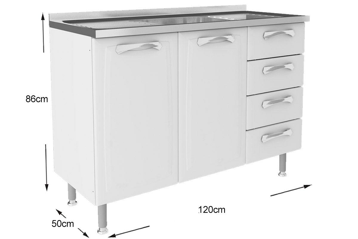 Gabinete (Balcão) de Cozinha Itatiaia Premium IG3G4 120 TL PIA Aço c  #696264 1200 800