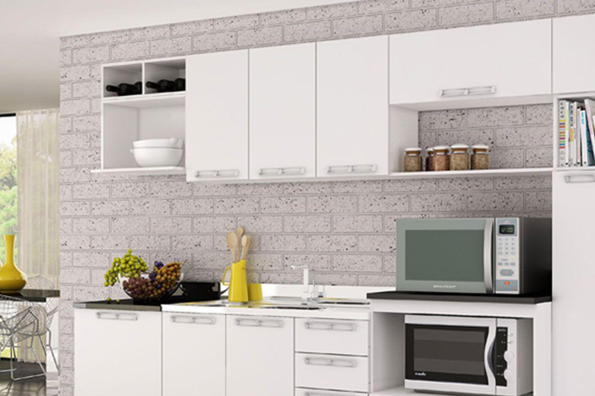 Armário de Cozinha Art In Móveis Aéreo CZ415 Madeira c/ 3 Portas e  #A98F22 1200x800