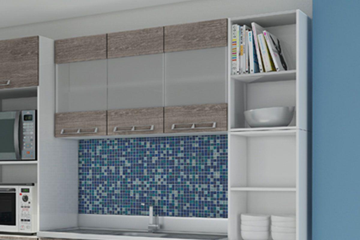 Armário de Cozinha Art In Móveis Aéreo CZ416 Madeira c/ 3 Portas c  #384961 1200x800