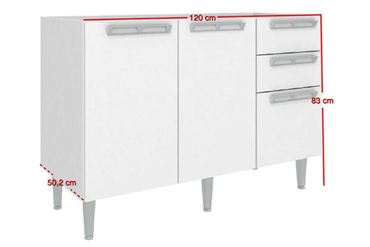 (Balcão) de Cozinha Art In Móveis CZ614 Madeira c/ 2 Portas 3  #A02B2C 1200x800