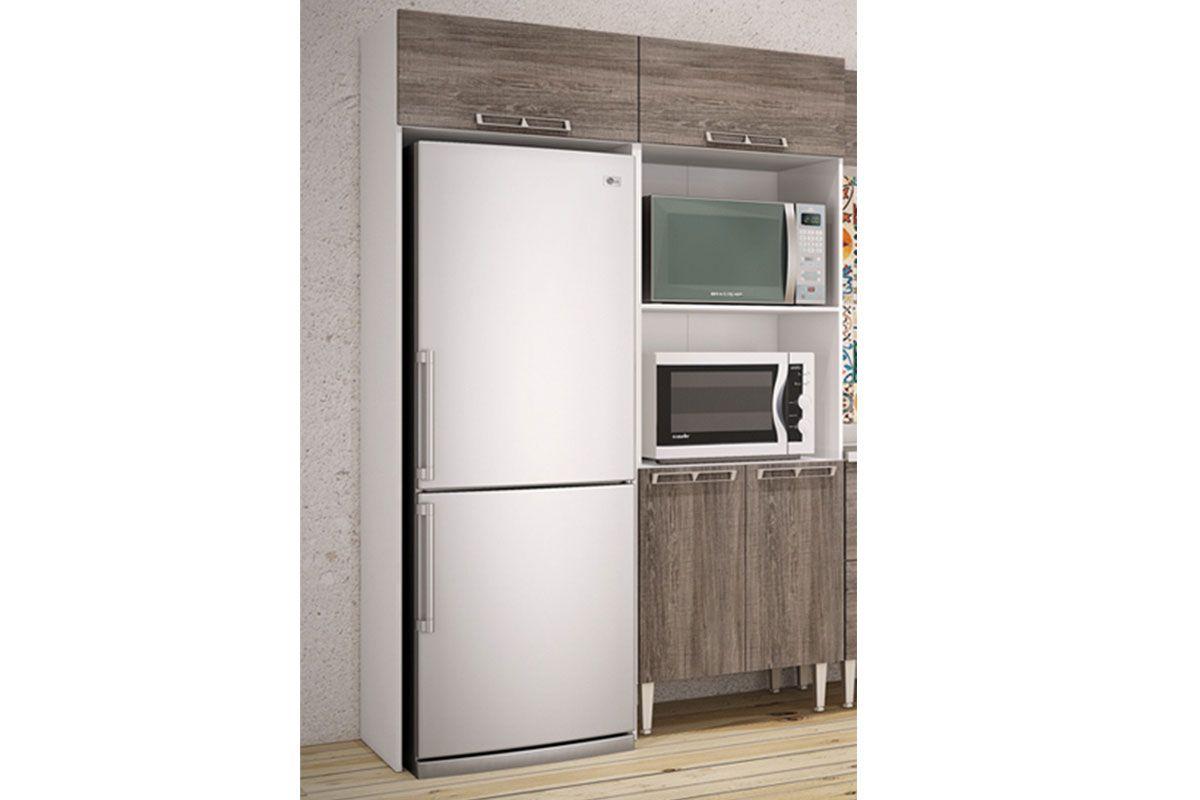 Armário de Cozinha Art In Móveis Aéreo de Geladeira CZ705 Madeira c 1 Porta  # Armario De Cozinha Em Cima Da Geladeira