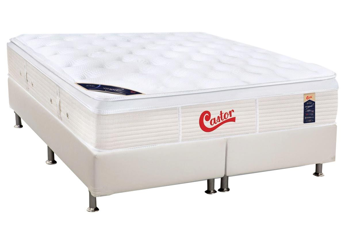 Conjunto Cama Box - Colchão Castor de Molas Pocket Gold Star Vitagel + Cama Box Universal Courino White