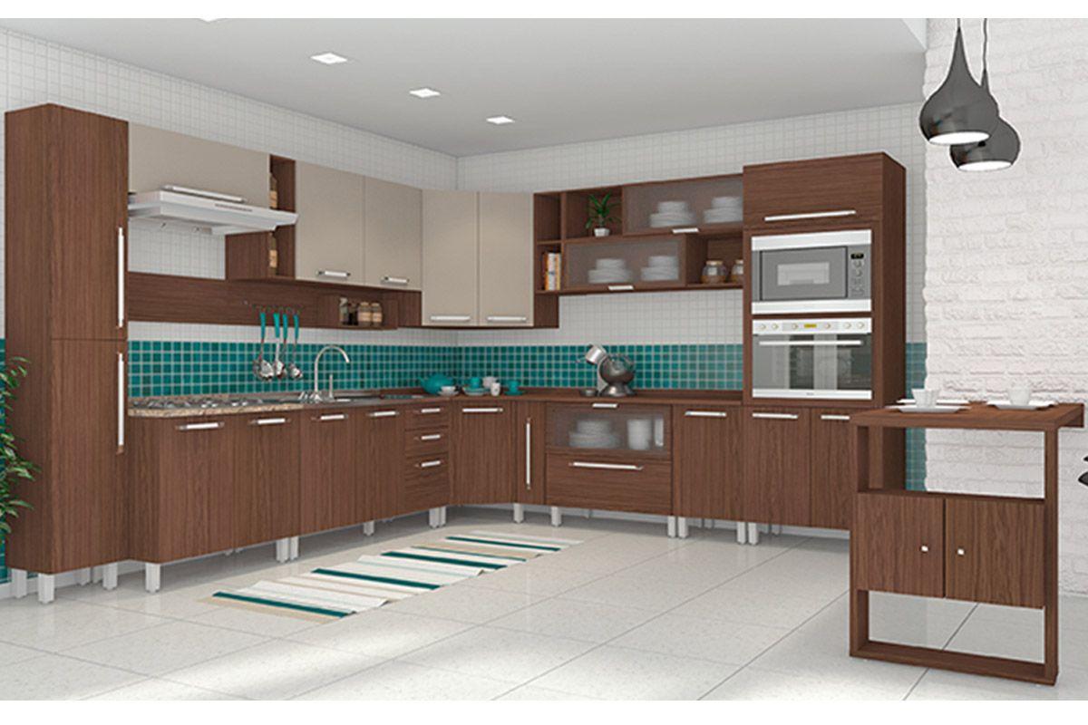 #336A69 Gabinete (Balcão) de Cozinha Henn Smart Madeira Pia c/ 3 Portas e 2  1200x800 px Altura Padrão De Balcão De Cozinha Americana #1781 imagens