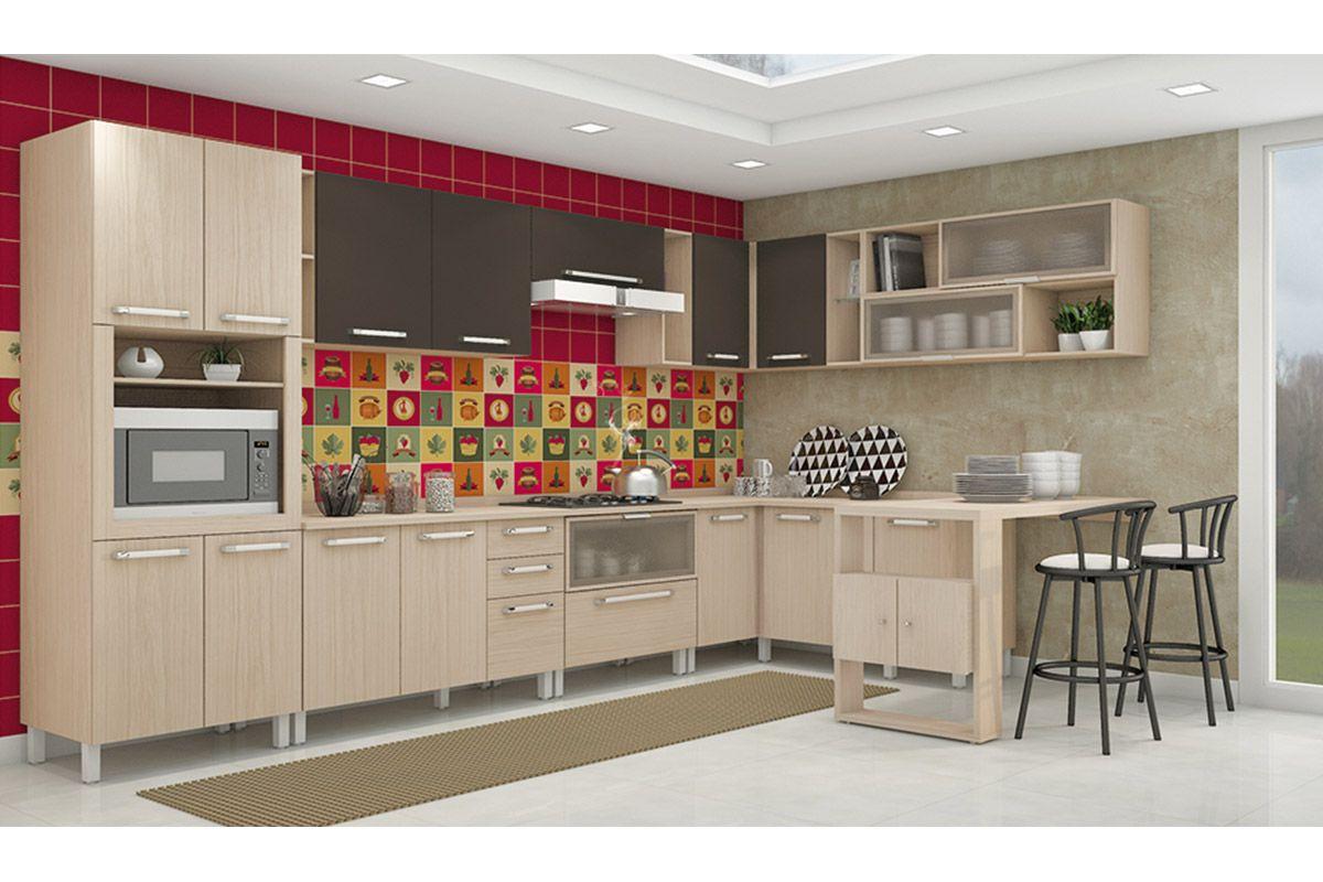 Armário de Cozinha Henn Aéreo Smart Madeira Canto Reto c/ 2 portas  #AA213B 1200 800