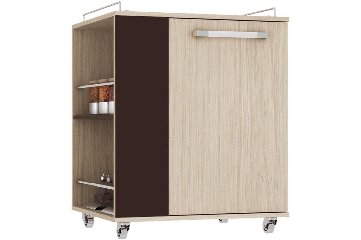 Auxiliar de Cozinha Henn Smart Madeira c/ 1 Porta com Rodízios de  #8B5740 1200x800