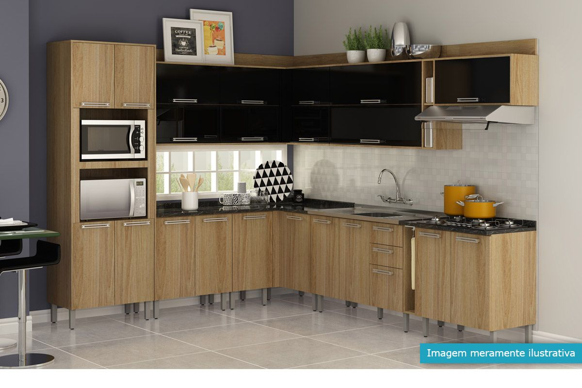 Gabinete (Balcão) de Cozinha Itatiaia Audace IG2A 80 COOK 5B Madeira  #1D95AE 1200 800