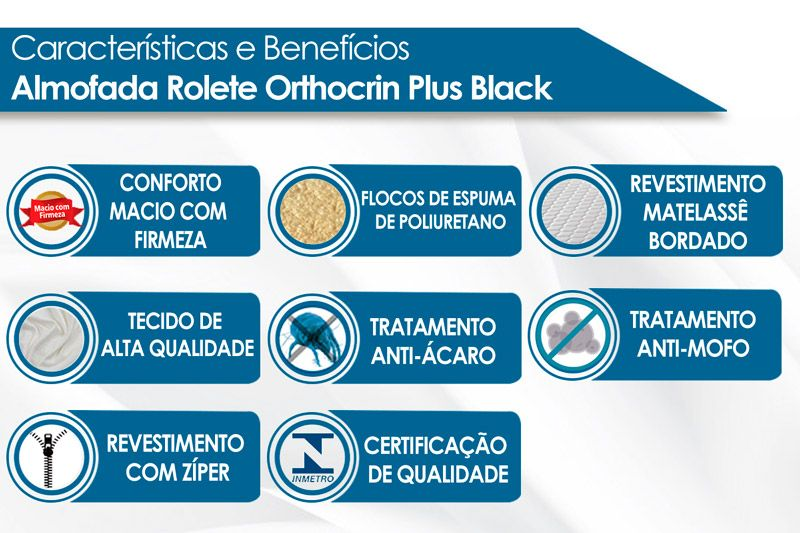 Almofada Rolete Orthocrin Plus Black