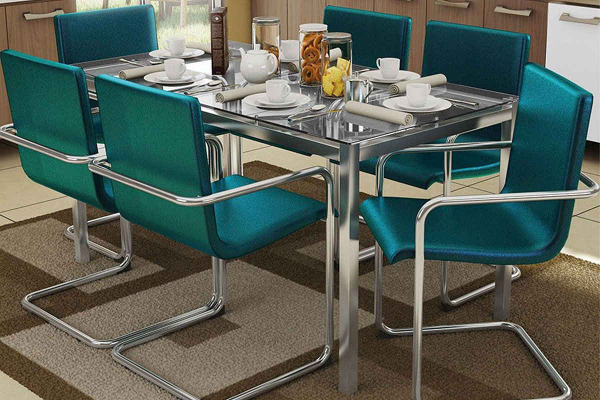 Conjunto Sala de Jantar Conjunto de Mesa Kappesberg Reno   6 Cadeiras #144E5B 1200x800