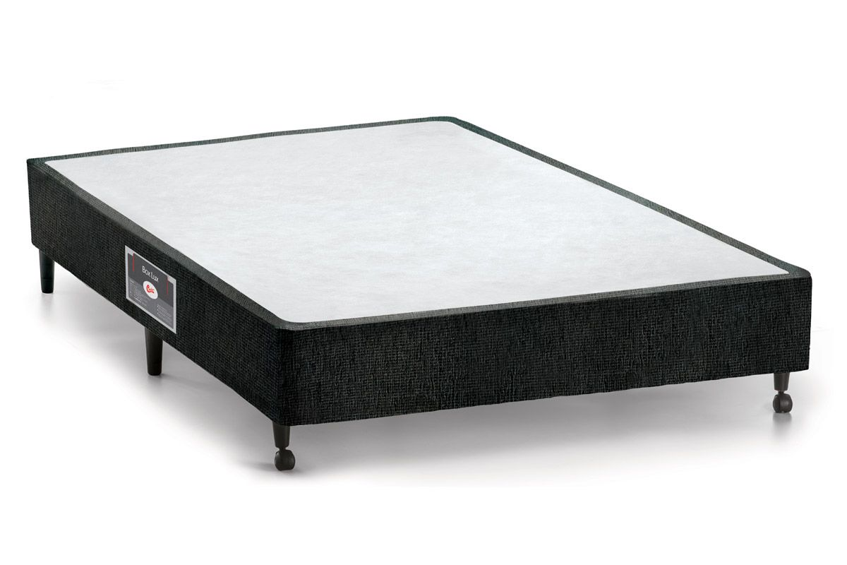 Cama Box Base Castor Lux Chenile Black