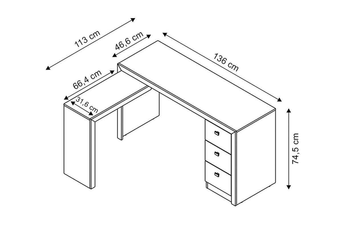 Mesa p escrit rio tecno mobili me 4101 de canto em l for Escritorios para oficina dimensiones