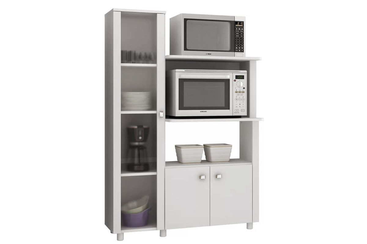 Balcão Multiuso De Cozinha Tecno Mobili BL 3304 C/ 3 Portas E Nicho P  #514658 1200 800 Mobili Multiuso Con Scarpiera