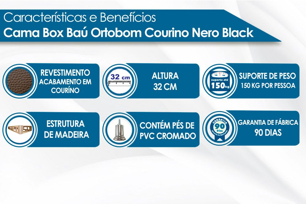 Cama Box Base Ortobom Universal Courino Nero Black 020