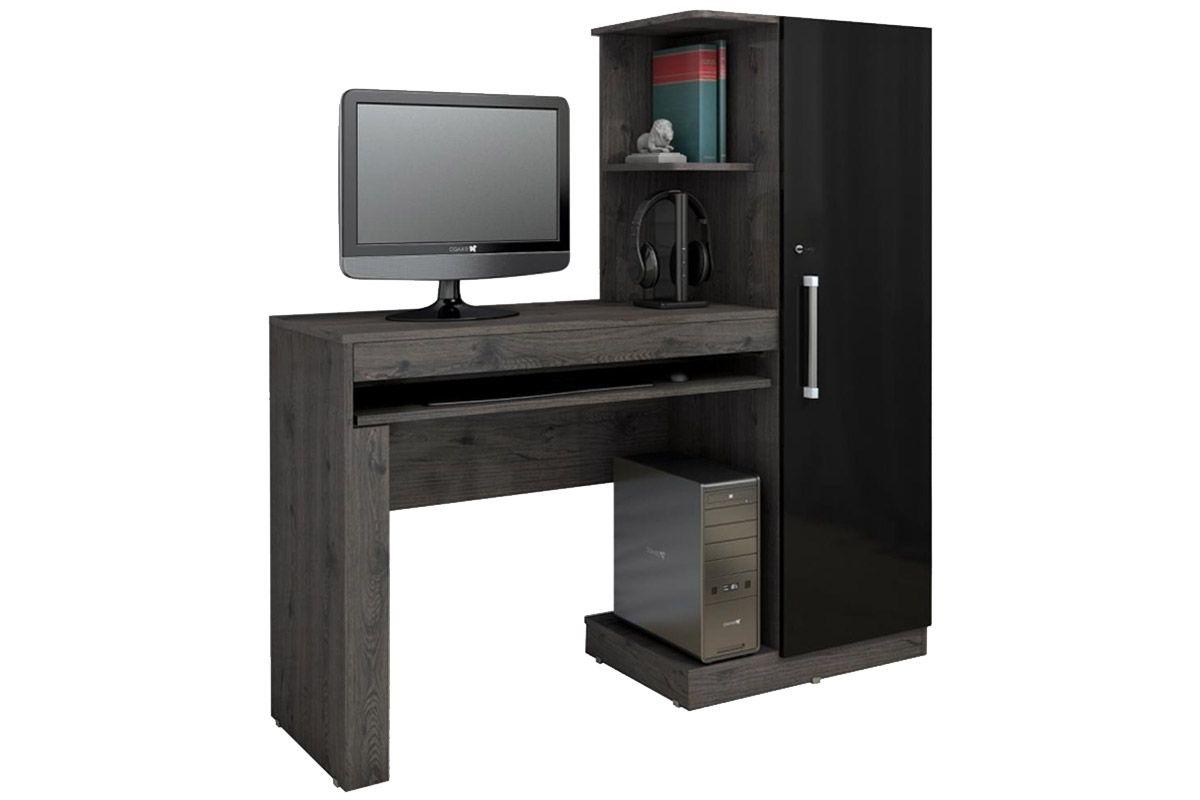Escrivaninha p/ Computador Valdemóveis Office c/ 1 Porta e Suporte  #496365 1200x800