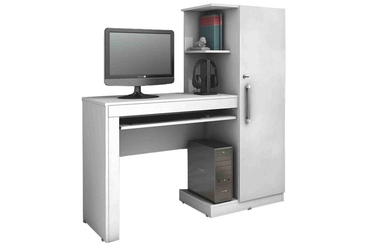 Escrivaninha p/ Computador Valdemóveis Office c/ 1 Porta e Suporte  #5F4744 1200x800