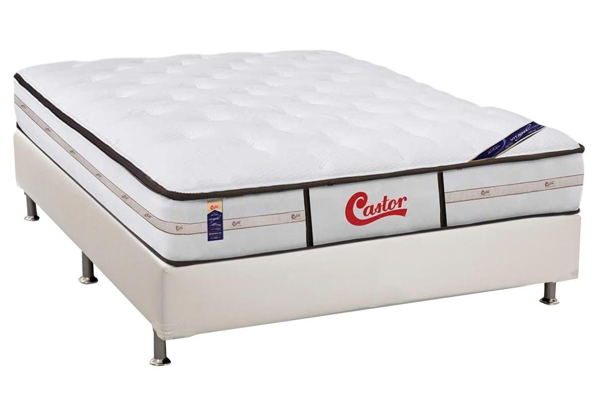 Conjunto Cama Box - Colchão Castor de Molas Pocket Gold Star Vitagel Class Double Face + Cama Box Universal Courino White
