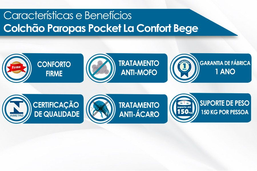 Colchão Paropas de Molas Pocket La Confort Bege Euro Pillow