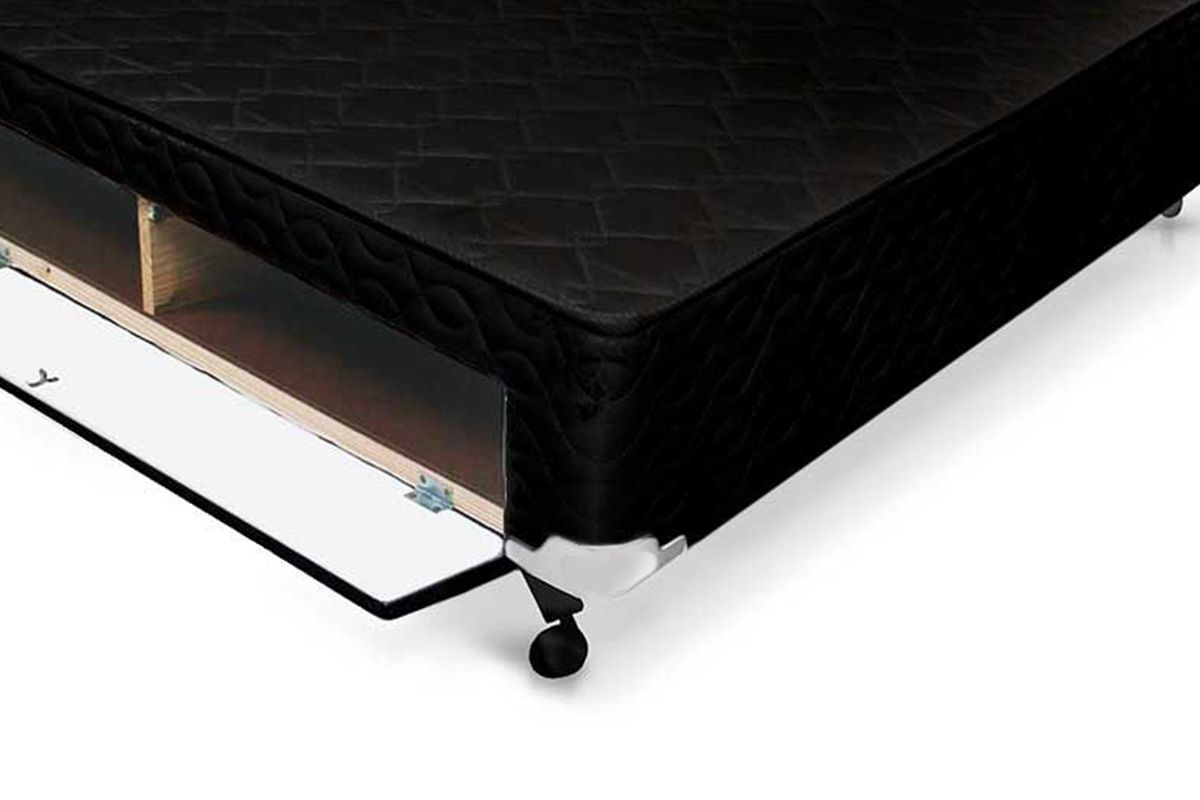 Cama Box Base Castor Closet Poli Tecido Black