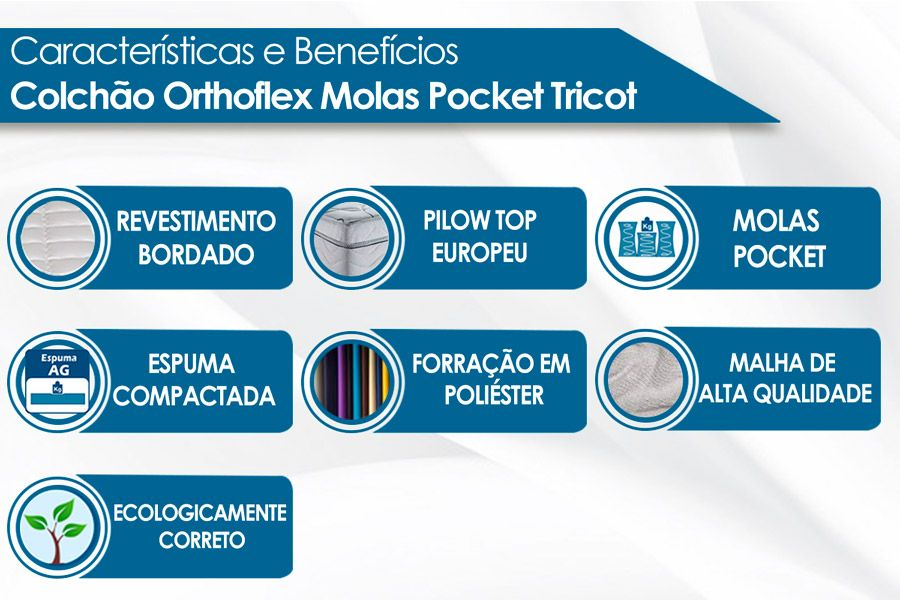 Colchão Orthoflex de Molas Pocket Tricot Eurotop Pillow