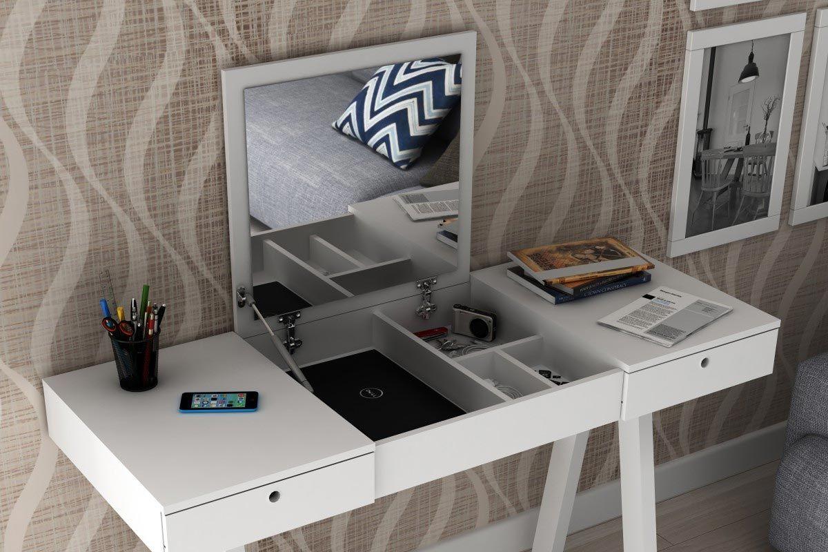 Penteadeira Escrivaninha Tecno Mobili PE 2002 c/ 2 Gavetas Móveis  #486878 1200x800