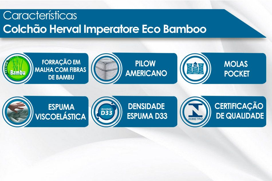 Colchão Herval de Molas Pocket Imperatore Eco Bamboo Viscoelástico Pillow Top