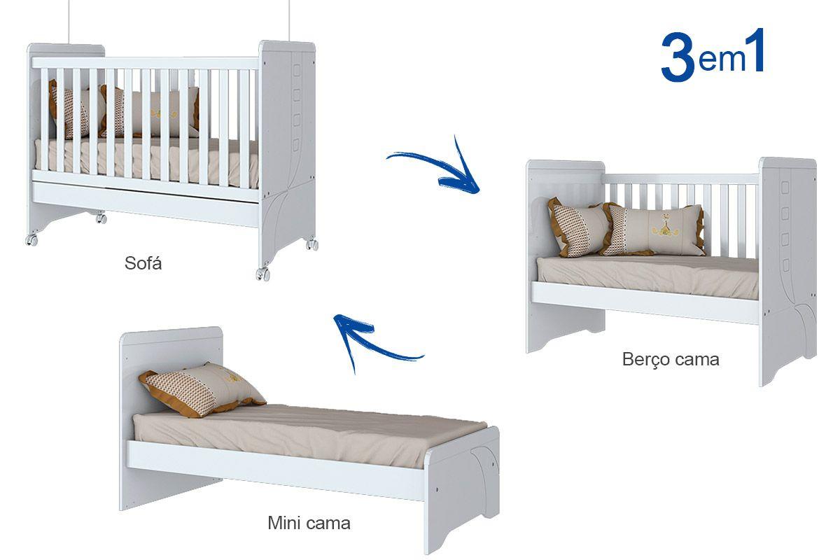 Ber o e mini cama infantil henn p o de mel 3 em 1 cor for Sofa que vira beliche preco