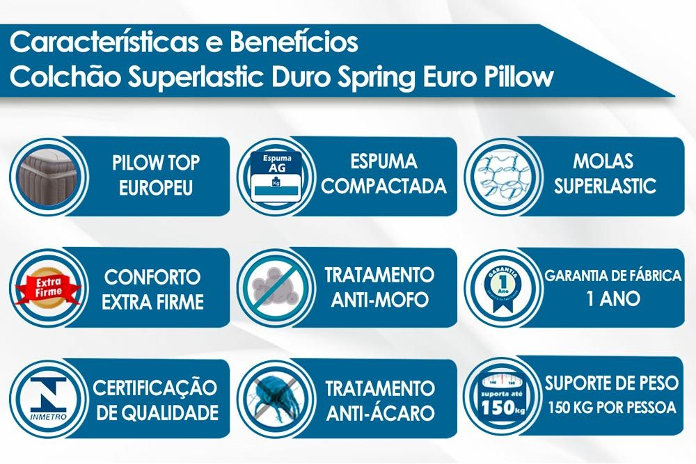 Colchão Plumatex de Molas Superlastic Duro Spring Euro Pillow