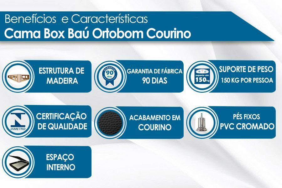 Cama Box Baú Ortobom Courino Black