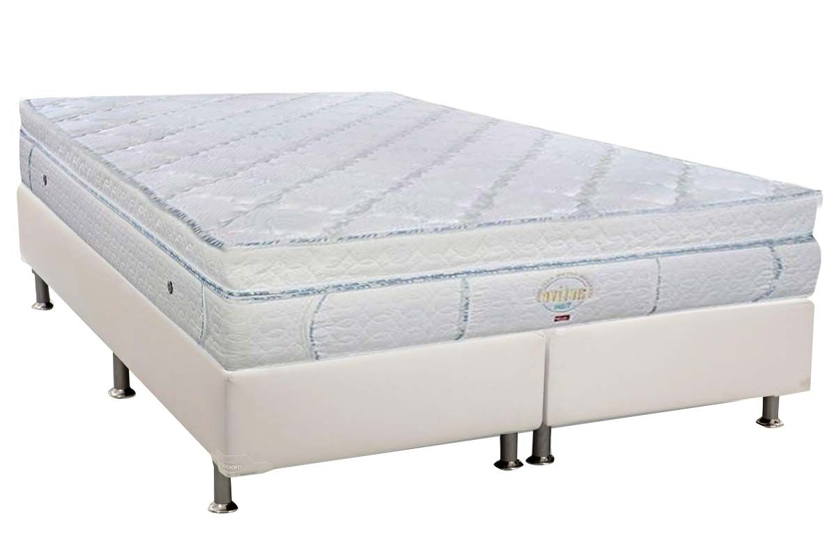 Conjunto Cama Box - Colchão Pelmex de Molas Pocket Active T-Latex + Cama Box Universal Courino White