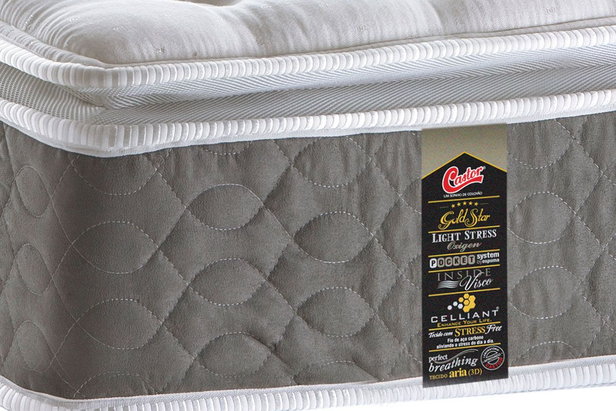 Colchão Castor de Molas Pocket Gold Star Light Stress Oxygem New O.F Pillow Top