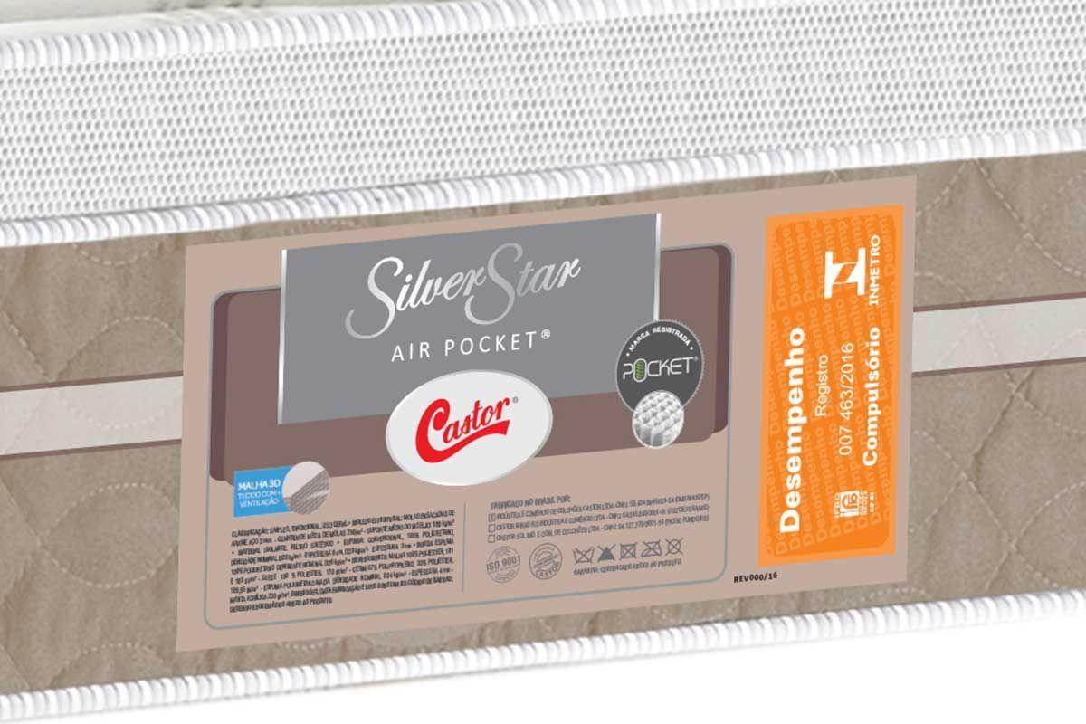 2003b424c ... Conjunto Cama Box - Colchão Castor de Molas Pocket Silver Star Air One  Face Euro Pillow ...