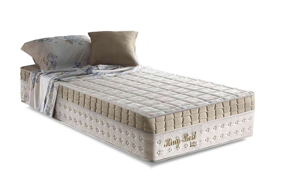 Conjunto Cama Box - Colchão Anjos de Molas Superlastic King Best Euro Pillow + Cama Box Baú Courino Bianco