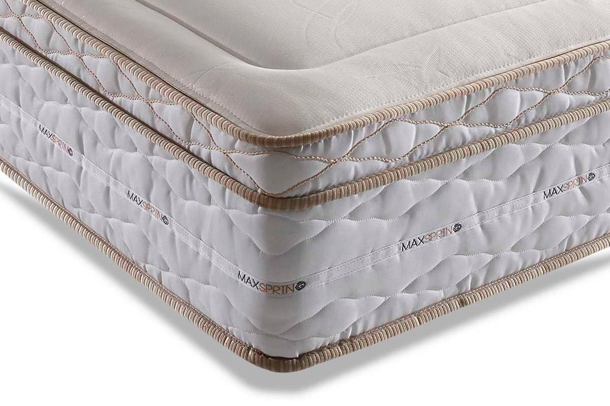 Conjunto Cama Box - Colchão Herval de Molas Maxspring American Pillow Top  + Cama Box Baú Courino White