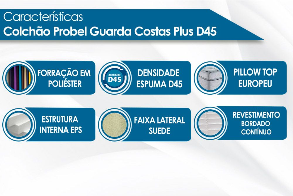 Colchão Probel de Espuma Guarda Costas Extra Firme Plus D45 Euro Pillow